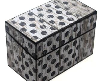 Wood Recipe Box Barn Wood White and Dark Gray Polka Dots Fits 4x6 Recipe Cards