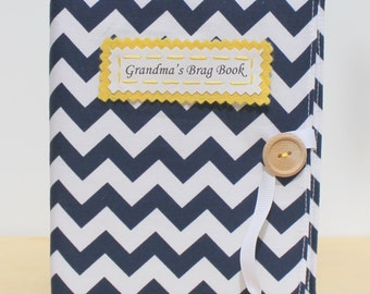 Father's day gift personalized brag book photo album in navy chevron grandmas book