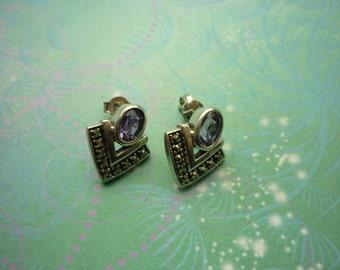 Vintage Sterling Silver Earrings - Art Deco Amethyst