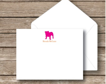 Personalized flat notecards, Stationery, bulldog note cards, set of 10 with white envelopes