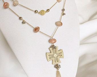 Labradorite Necklace , Sunstone Necklace , Pyrite Necklace
