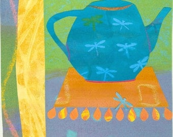Paper Collage Art Print, Dragonfly Tea, 8x10 or 10x13, Teapot Picture