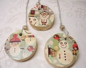 Reserved for Chandra Snowman Wooden Ornaments Silver Bead Accent Snowmen Wood Holiday Winter Snow Christmas Gift Tags Natural Set of Three