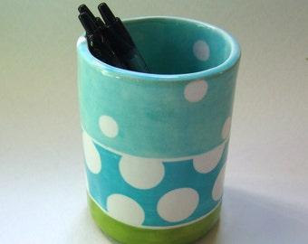 whimsical pottery Vase, ceramic kitchen Utensil Holder :) lime green & turquoise green white polka-dots, funky cool Beach home decor
