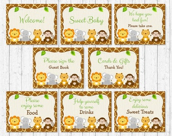 Safari Baby Shower Table Signs / Safari Baby Shower / Jungle Animal Baby Shower / 8 Printable Party Signs / INSTANT DOWNLOAD A100