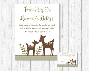 How Big Is Mommy's Belly Game / Deer Baby Shower / Woodland Baby Shower / Woodland Deer / Belly Guessing Game / INSTANT DOWNLOAD