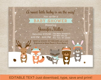 Winter Woodland Animals Baby Shower Invitation / Winter Baby Shower / Winter Forest Animals / Editable PDF INSTANT DOWNLOAD A111