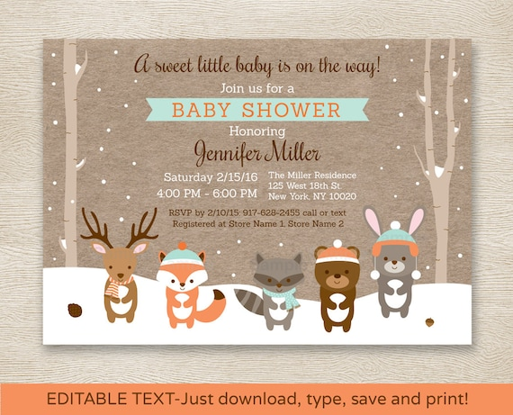 Beautiful Winter Woodland Animals Baby Shower Invitation / Winter Baby Shower /  Winter Forest Animals / Editable PDF INSTANT DOWNLOAD A111