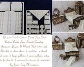 Cotton Laser cut Lace Bedroom Linens, Shawl & Pillows Kit 1:48 Quarter Scale LQ034