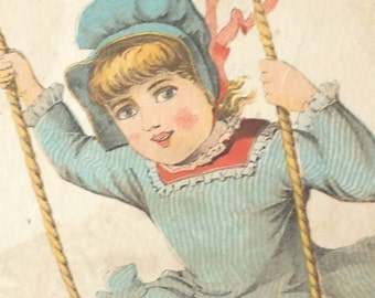 Victorian Trade Card Cook Carriage Co Baltimore Girl on Swing 1883 Lithograph