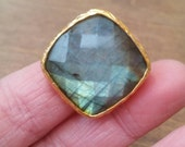 Labradorite Ring Gold Metal Adjustable Size
