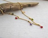 Delicate Amethyst Peridot Garnet Drop Gold filled Necklace