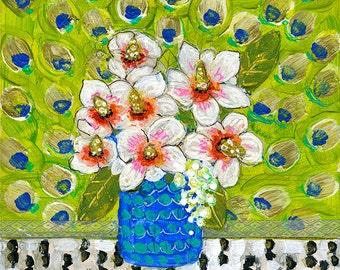 Peacock Decor, Art on Wood, Floral Painting, Original Artwork 8X8 |Penelope Peacock Flowers