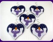"Five 4"" x 4"" LET IT SNOW Heart Wool Felt Ornaments with Hangers - Primitive - Folk Art - Home Decor - Penny Rug - Fiber Art - Wool Applique"