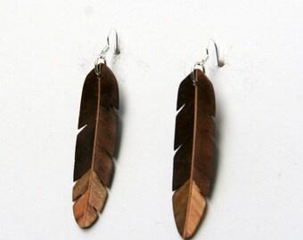 Handcarved Black Walnut, Ambrosia Maple  Wood  Leaf / feather  Earrings  J160504