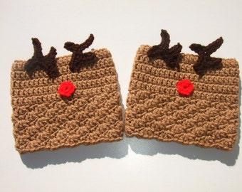 Crochet Womens Boot Cuffs, Reindeer Boot Cuffs, Reversible Boot Cuffs, Ready to Ship