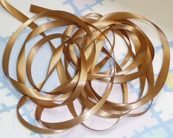 PALE GOLD DouBLe FaCeD SaTiN RiBBoN, Polyester 1/4 inch wide, 5 Yards