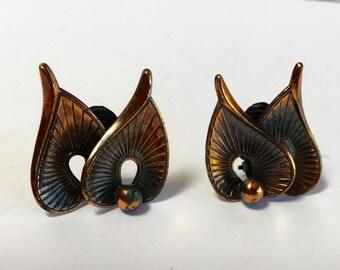 Vintage Earrings - Copper Leaf Shaped Clip Earrings Stamped Western Germany