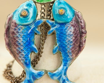 Vintage Enameled Two-Sided Double Fish Pisces Pendant