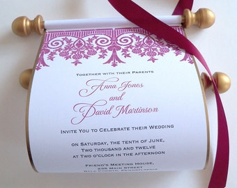 Lace Wedding Invitation scrolls in gold and wine, set of 10