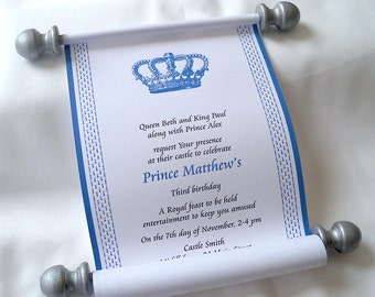 Prince invitation for birthday party, royal crown scroll, blue and silver, set of 15