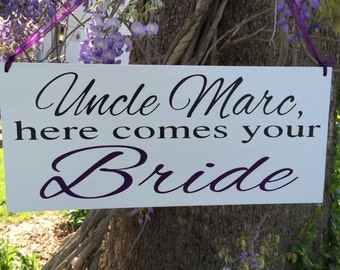 Here comes your Bride sign Ring bearer sign Flower girl sign Custom Grooms name