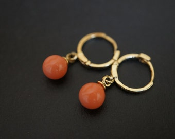 Simple and Elegant 18K Gold Salmon Pink Coral Earrings - 1 pair
