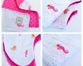 BABY GIRL Gift Set / Boppy cover, mini blanket and Burp Cloth / Sweet cotton print with soft minky / Modern baby shower gift