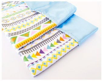 BRAND NEW MINKY  / Colorful Tribal print minky print with your choice of satin color / Beautiful and unique baby shower gift