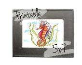 Printable Scripture Art- Sea Horse - Scripture Art - 5x7 - Colossians 3:23