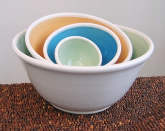 Ceramic Nesting Bowls in Fiesta - Stoneware Pottery Bowls - Stacking Bowls Wedding Gift