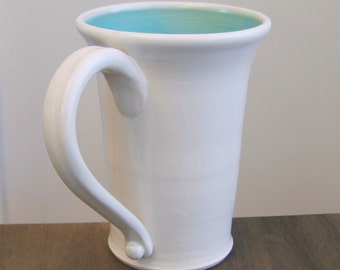 Tall Mug, Beer Stein, Large Coffee Mug in Turquoise Blue 16 oz. Stoneware Ceramic Pottery Mug
