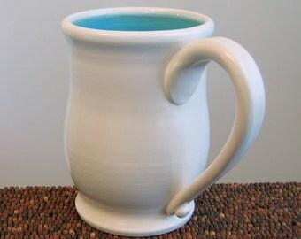 Large Coffee Mug - Pot Belly Stoneware Ceramic Pottery Mug in Turquoise Blue 18 oz.