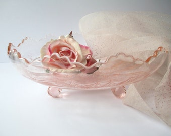Vintage Pink Holly Footed Serving Bowl