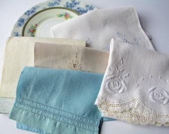 Vintage Tea Towel Collection Blue White Set of Five  - Tea Party Style