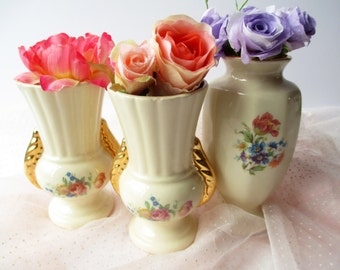 Vintage Marco Pottery Pink Blue Floral Vase Collection of Three