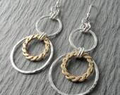 Silver Dangle Earrings Gold Silver Earrings Hammered Circle Earrings Mixed Metal Earrings Circle Earrings Gift For Her Holiday Gift