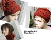 Crochet Hat Pattern And Neck Wrap Pattern Women And Teen Size Instant Download