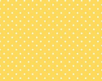 25% OFF White Swiss Dots on Yellow - 1/2 Yard