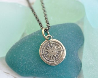 tiny bronze compass pendant - compass rose wax seal necklace … direction, guidance, navigation - bronze nautical wax seal jewelry