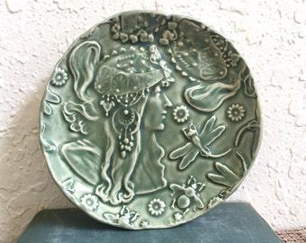 Ceramic Trinket Dish - Mucha - Art Nouveau - Belle Epoch - Handmade Pottery