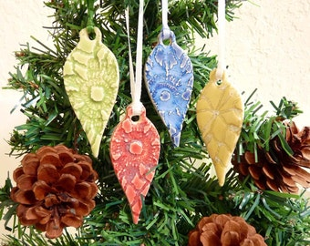 Ceramic Lace Teardrop Ornament Set of Four Handmade Pottery Holiday Christmas Decoration