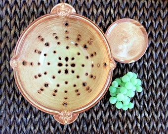 Handmade Ceramic Colander - Ceramic Berry Bowl - Strainer with Handles - Glazed in Brown Cream with Rust Brown Accents, Kitchenware