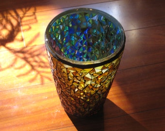 Recycled Upcycled Mosaic Victory Vase or Lamp / Reds Yellows Blues Greens Purples /  A cut off cone / Double Grouted / 10 inches by 6.5 inch