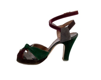 Vintage 40s Platforms - 40s Platform Shoes - 40s Pumps - 40s Suede Pumps - Peep Toe Pumps - Wraparound Ankles - Three Tone - Swing Shoes