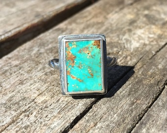 Rugged oxydized sterling silver and rectangular persian turquoise cabochon ring
