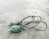 Green Stone and Silver Earrings, Oxidized Jewelry, Metalwork, African Jasper and Silver Dangle Earrings