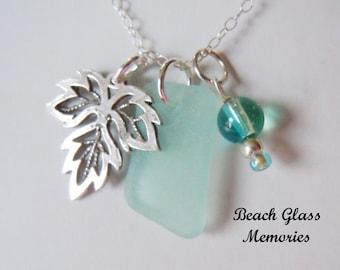 Aqua Sea Glass Leaf  Necklace  Seaglass Necklace  Beach Glass Jewelry Eco Friendly Jewelry