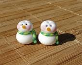 Little Snowmen Handmade LAMPWORK Bead Set in Green