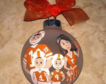Personalized Family College NFL High School Football (Any Team!) House Divided Family Custom Ornament Christmas Hand Painted Original Art